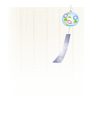glory: A wind chime with morning glory illustration  bamboo blind background Illustration