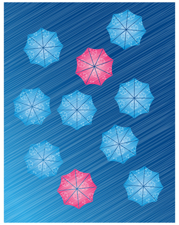Lemon slice patterned blue and red umbrellas vector illustration Vector
