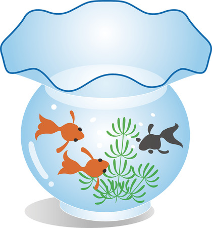 Fish swimming in a round shaped fish tank Vector illustration