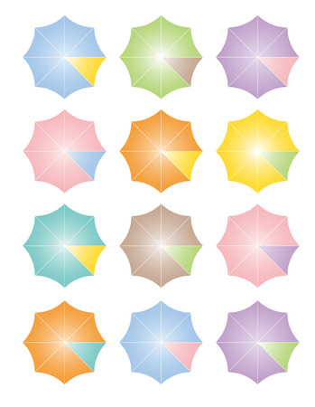 Two-toned colorful umbrellas lining up in rows vector illustration Ilustração