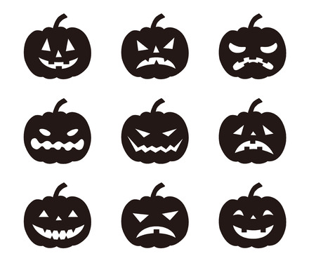 Halloween pompoenen met verschillende uitdrukkingen Stock Illustratie