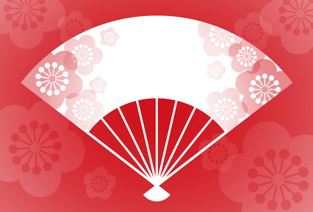 New Year card with a plum blossom patterned folding fan   vector illustration