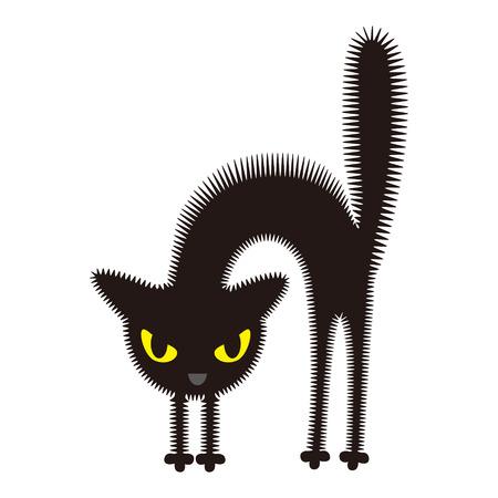 怒っている黒い猫  イラスト・ベクター素材