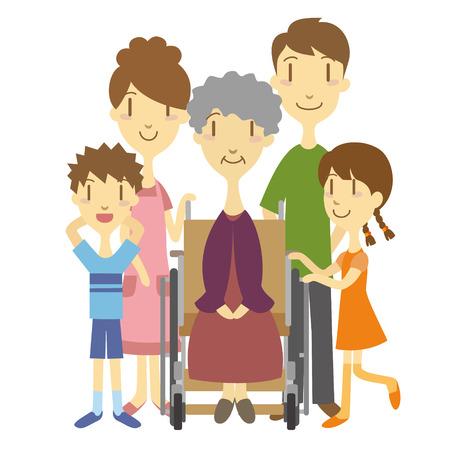 Een oudere vrouw in rolstoel met familie