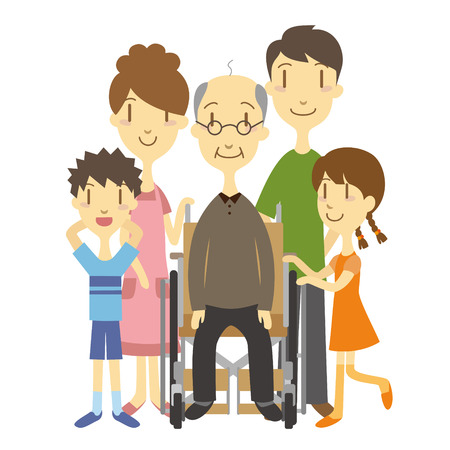 An elderly man in wheelchair with family