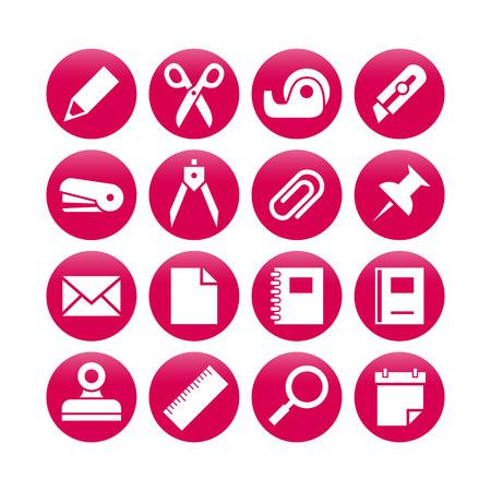 pencil set: Stationery icon set  vector illustration