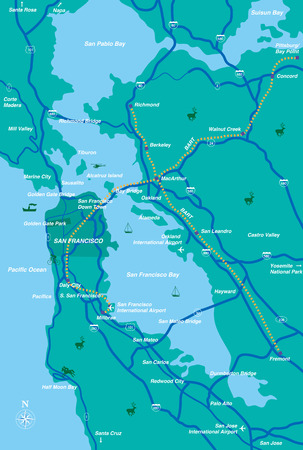 San Francisco Bay Area kaart Stock Illustratie