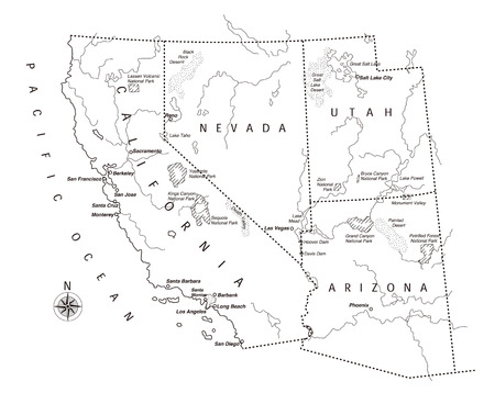 US West Coast Map Royalty Free Cliparts Vectors And Stock - Us west map