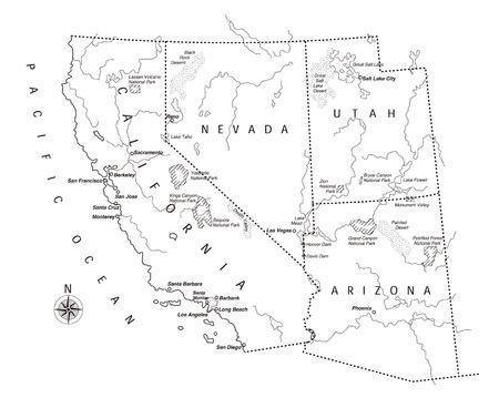 coast: US west coast map Illustration