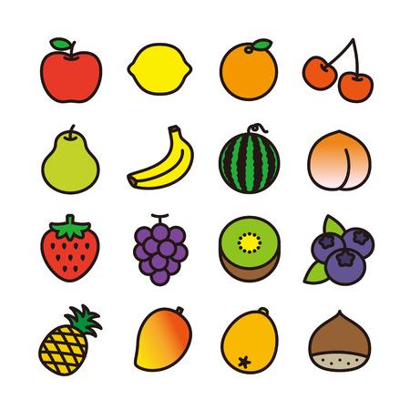 water chestnut: Fruit icons Illustration