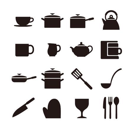 キッチンのアイコン  イラスト・ベクター素材