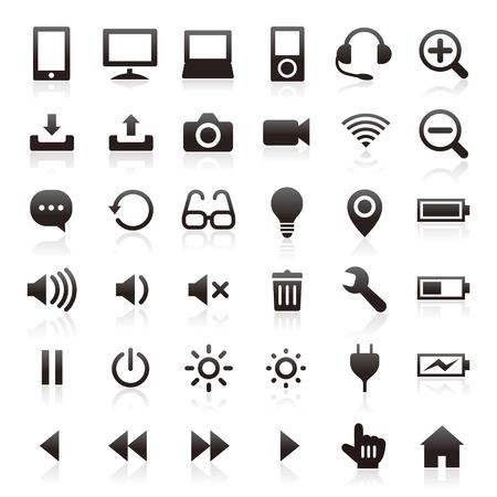 Iconos del asunto y computadora Foto de archivo - 36763952