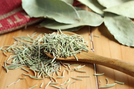 Dried herb / rosemary and bay leaf 스톡 콘텐츠