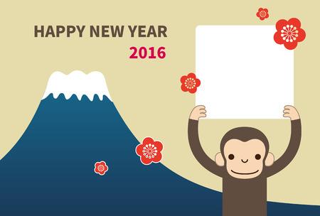 猿、新年カード ベクトル イラスト