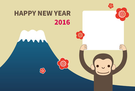 Monkey, new year card  vector illustration Çizim