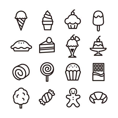 お菓子のアイコン  イラスト・ベクター素材
