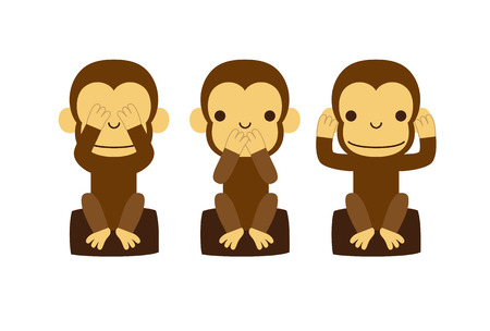 see no evil: Monkey, new year illustration Illustration