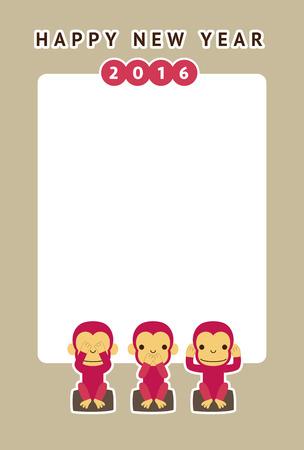 see no evil: Monkey, new year card  vector illustration Illustration
