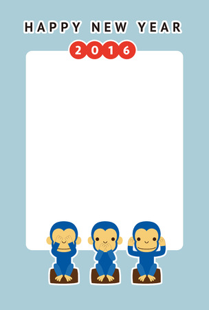 bue: Monkey, new year card  vector illustration Illustration