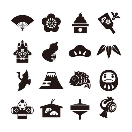 Nieuwjaar elementen icon set