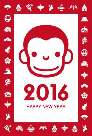2016 年の猿と新年の要素イラスト年賀状