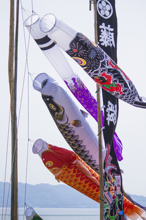putting up: Celebrating Children  's Day by putting up carp streamers