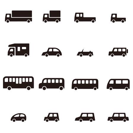 シンプルな黒と白の様々 な車のアイコン  イラスト・ベクター素材