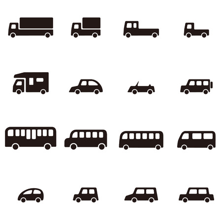 simple black and white various car icon Illustration