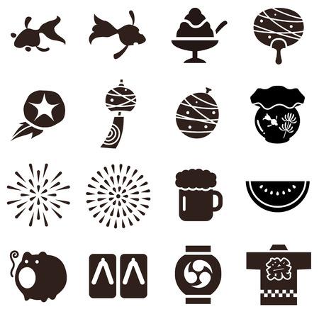 Illustratie van diverse gemeenschappelijke dingen in de zomer in Japan