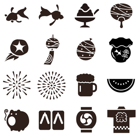 Illustration of various common things in the summer in Japan