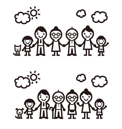 シンプルな象徴的な家族アイコン、ベクトル イラスト