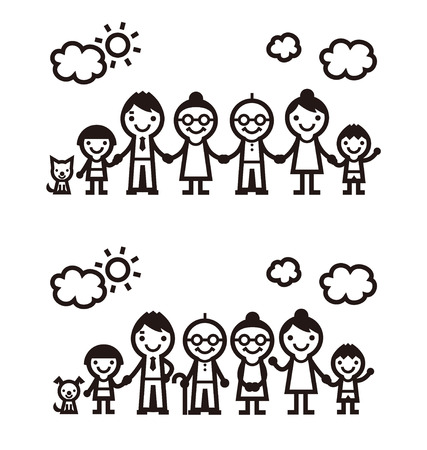 Simple symbolic family icon, vector illustration