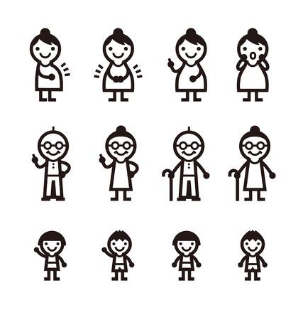 出産、高齢者、子供のアイコン、ベクトル イラスト