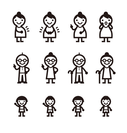 Maternity, Elderly, Kids icons, vector illustration 矢量图像