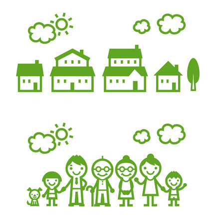three generation: Three generation family and houses, the sun and clouds