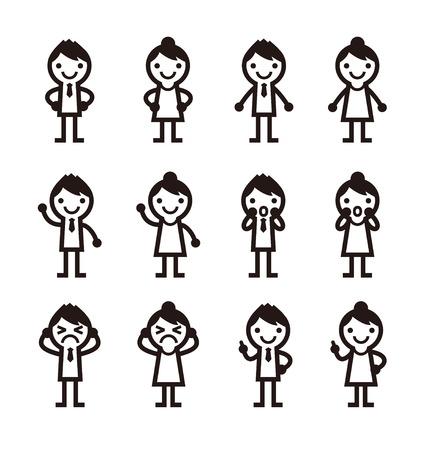 mannen en vrouwen iconen, vector illustratie Stock Illustratie
