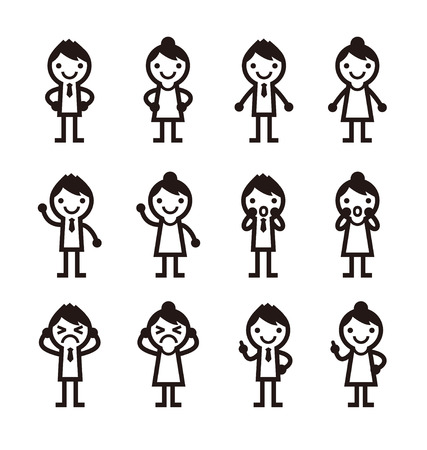 surprising: men and woman icons, vector illustration