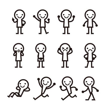hombres negros: Hombres sencillos con el icono de pose, ilustraci�n vectorial Vectores
