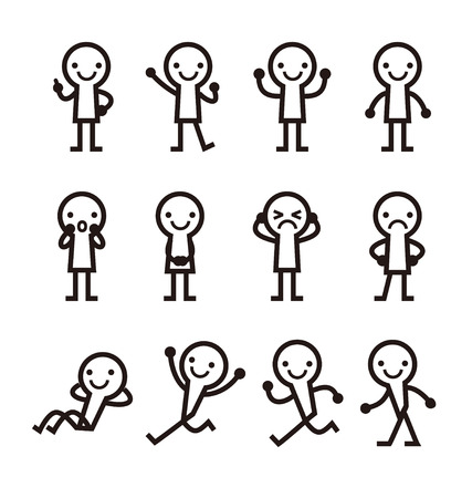 Simple men with pose icon, vector illustration