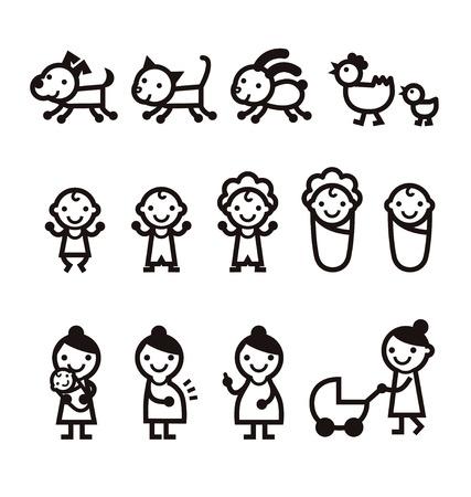 赤ちゃん、ママ、女、犬、猫、ペットのアイコン  イラスト・ベクター素材
