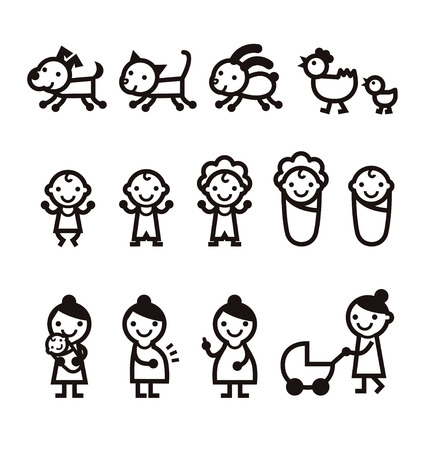 Baby, mommy, woman, dog, cat and pet icon