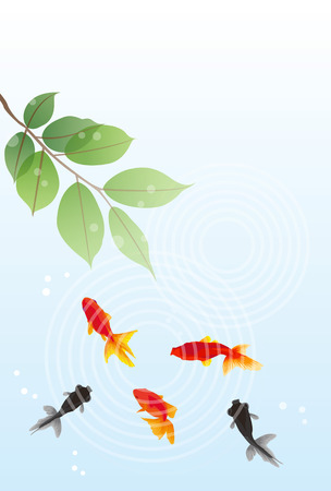 赤と黒の金魚の夏のグリーティング カード