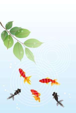Red and Black Goldfisch Sommer-Grußkarte Standard-Bild - 41547395