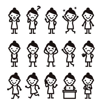vrouw met verschillende poses zwart-wit icoon Stock Illustratie