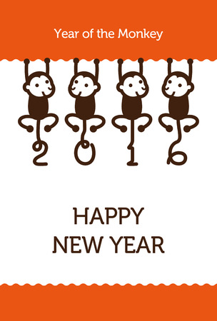 cute monkey: New Year card with Monkey for year 2016