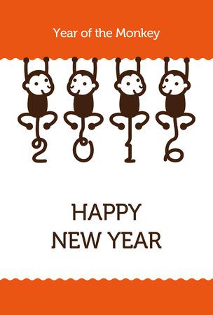 Nieuwjaarskaart met Monkey voor het jaar 2016
