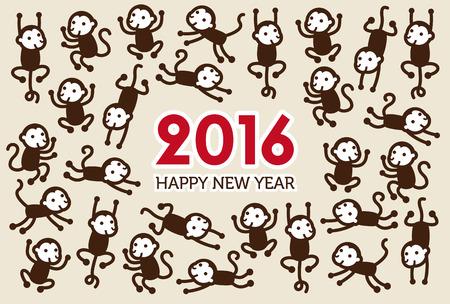 2016 年の猿と年賀状 写真素材 - 42101450