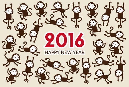 New Year card with Monkey for year 2016