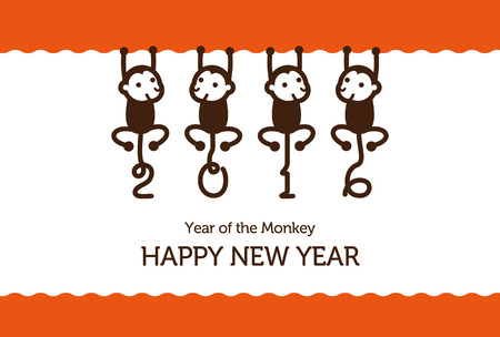 season greetings: New Year card with Monkey for year 2016