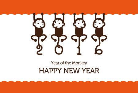monkeys: Tarjeta del A�o Nuevo con el mono para el a�o 2016 Vectores